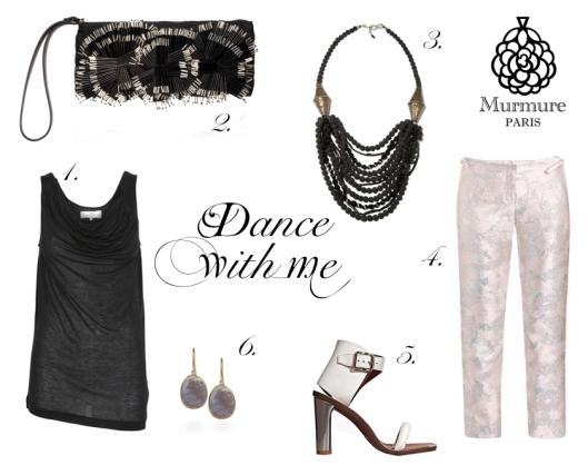 Murmure Paris 1. Soya Twist Tee-Shirt 2. Marni Clutch 3. CoutureLab Jewelry 4. Christopher Kane Metallic Trousers 5. Céline sandals 6. Pippa Small Earrings